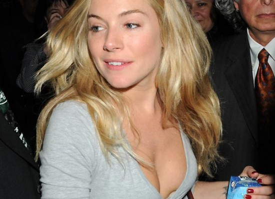 Here is Sienna Miller showing off some sweet skinny girl cleavage in what ...