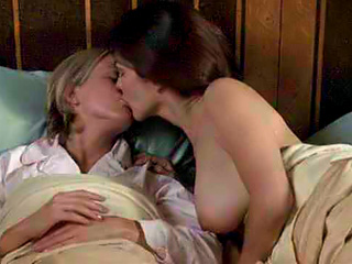 Laura Harring topless and Naomi Watts making out in bed as they feel each ...