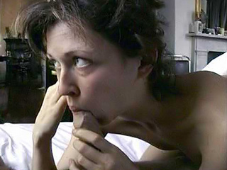 Margo Stilley nude as she kneels in bed and licks and sucks a guy while ...