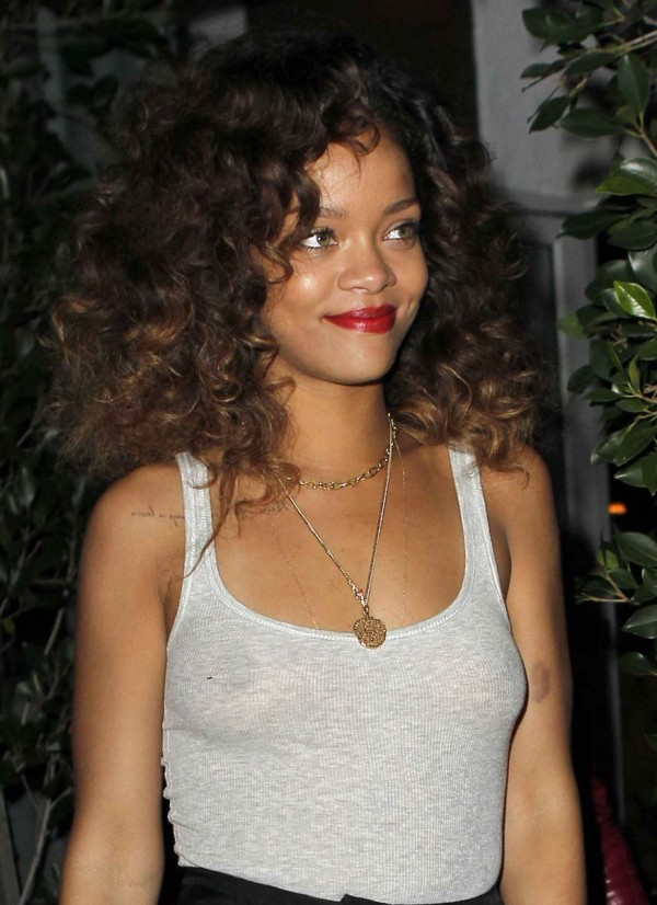 Rihanna Braless In See Through Top