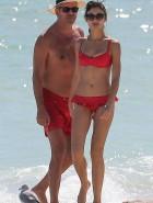 Olga Kurylenko red bikini