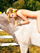Kate Upton topless horse