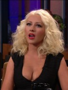 Christina Aguilera cleavage on Leno