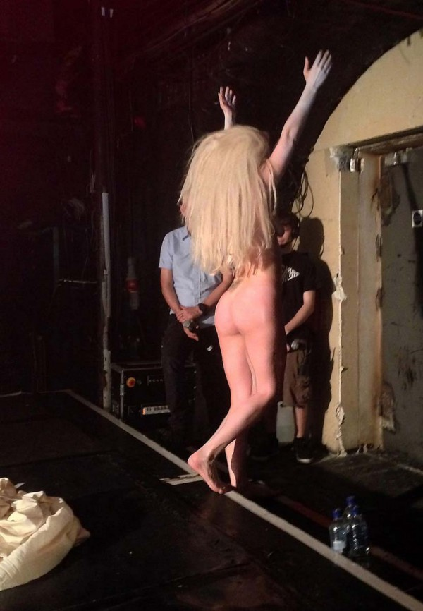 stage naked Lady gaga on