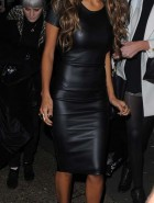 Nicole Scherzinger tight leather dress