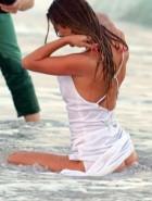Nina Agdal nipple slip