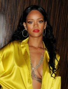 Rihanna cleavage at Clive Davis' Pre-Grammy Gala