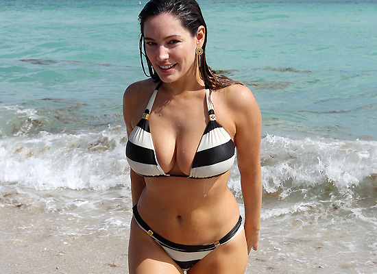 Kelly Brook striped bikini