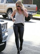 Hilary Duff leather