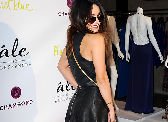 Vanessa Hudgens sexy leather dress